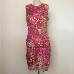Belle Badgley Mischka Pink Lace Dress